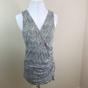 Ann Taylor shirt top black/white tank Large